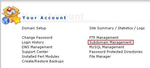 Host1Plus海外空间添加子域名图解